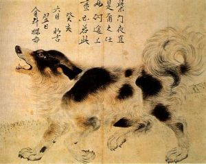 Painting of a Dog by Kim Duryang Sapsalgae, 1743
