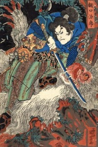 Higuchi Jiro Kanemitsu on a wooded mountainside struggling with a giant Monkey which grips his sword-blade between its teeth. Painting by Utagawa Kuniyoshi, 1798 - 1861