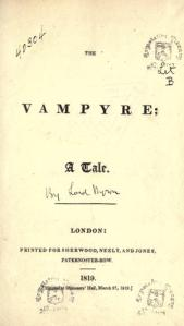 Title Page of Vampyre 1819 (Note handwritten attribution to Lord Byron)