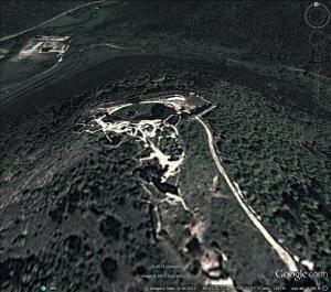 """Cachtice Castle, home of Elizabeth Bathory, """"the Blood Countess"""" from Google Earth Dec. 2013"""