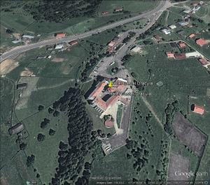 Aerial view of the Hotel Castel Dracula in the Borgo Pass from Google Earth