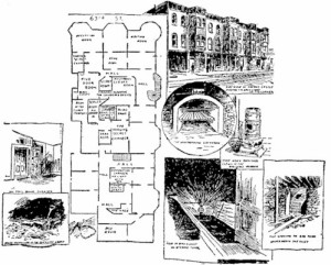 A diagram of Holmes's Castle from weirdchicago.com (originally from the Chicago Tribune)