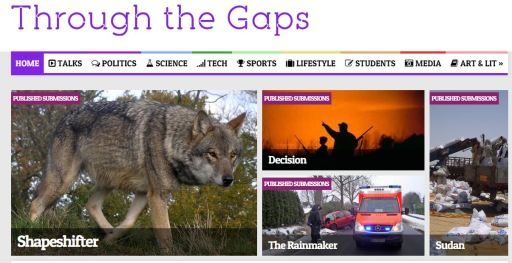"Current headline at Through the Gaps showing illustrations for ""Shapeshifter"", ""Decision"", and ""Sudan"""