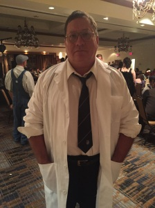 Phil Slattery at a literary costume part for charity in 2015, dressed as Lovecraft's Herbert West, Re-animator