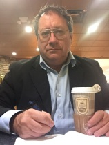 Writing at Hasting's Hardback Café in Farmington, NM, late evening of October 16, 2015 (self-portrait)