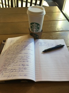 Writing at Starbuck's in Farmington, circa October 12, 2015.