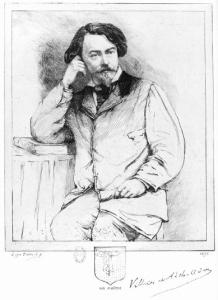 Portrait d'Auguste de Villers de L'Isle-Adam (1838-1889) par Loÿs Delteil (1869-1927). Gravure d'après une photographie de 1886