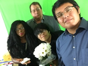 Francene Kilgore (l) and I on the set with Alrenzo Black (r) and 2tk (center) of Darksomnia Productions, August 6, 2016