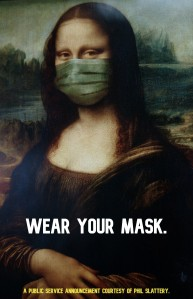 Photoshopped painting of the Mona Lisa by Leonardo Da Vinci wearing a medical face mask to prevent spreading COVID-19/Coronavirus