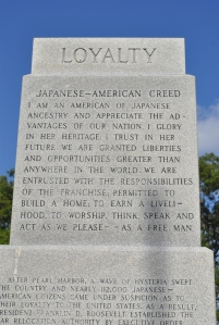 Photo of monument section displaying the Japanese-American creed.