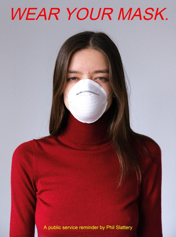 Photo of woman in red turtleneck with face mask